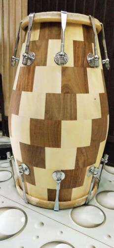 Wooden Modern Style Check Pattern Design Dholak Instruments Brown Color