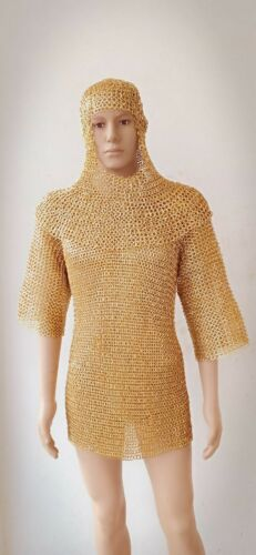 Brass Chainmail Shirt With Coif