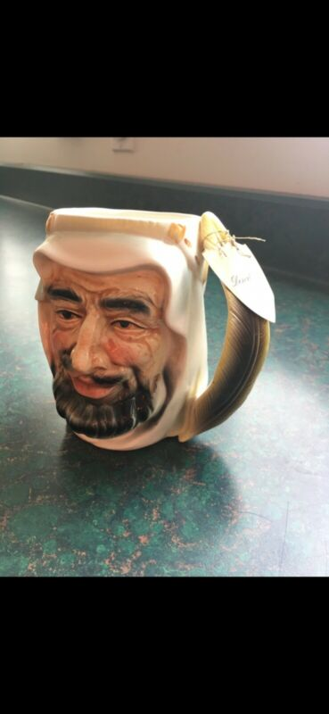 "Vintage Toby Mug Staffordshire White Sheik Large 5.5"" Hand Painted England"