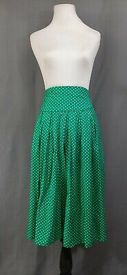 Pretty Vacant Modcloth Topic of Conversation Skirt UK18/1X Green Heart Print  Pleats Unlined Skirt