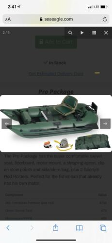 Sea Eagle 285FPB Frameless Deluxe Package Inflatable 9 Ft Po