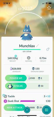 Pokemon Go Trading Munchlax (rare baby hatch)