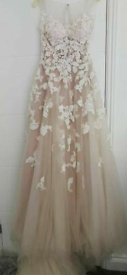 Ellis Bridal Nude Blush & Ivory Embellished Floral Romantic Lace Wedding Dress