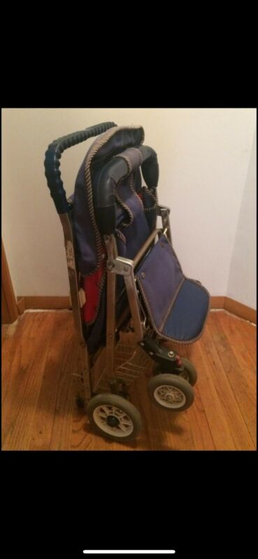 Vintage Retro Mid Century Folding Baby Stroller- Very Rare- Red and Blue