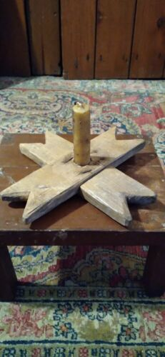 Early Handmade Antique Make Do Wood Candle Holder w/ Mustard Grubby Candle 8""