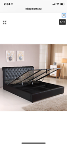 Black Gas Lift Bed - Queen Bed (good as new)