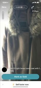 RW&CO Tan wool coat with fur coat Size small