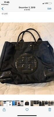 TORY BURCH Tote Bag Large Black Nylon ELLA Handbag Patent Leather Logo / Trim