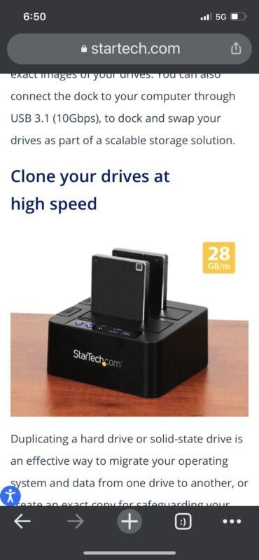 "StarTech.com USB 3.1 10Gbps Hard Drive Duplicator Dock for 2.5"" & 3.5"" SATA SSD"
