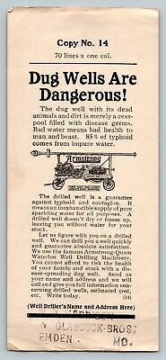 c.1910 Advertising Copy for Armstrong Manufacturing Well Drilling Equipment