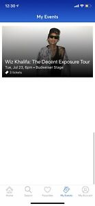3 tickets to the Wiz Khalifa concert for $40 each 400 section
