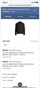 John Varvatos. Quilted, goose down, bomber jacket