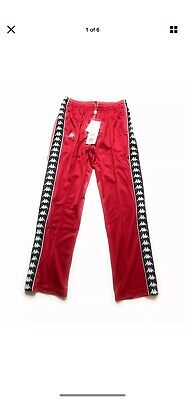 Kappa Banda Tapered Track Pants Red Black Men's Size Large New With Tags