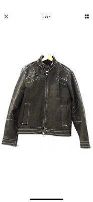VINTAGE Mens VERSACE JEANS COUTURE Brown 100% Leather Jacket MEDIUM  - T04