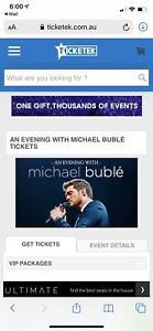 Michael Buble A Reserve Tickets Sat Feb 22nd