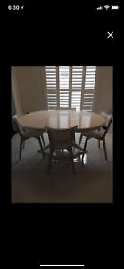 White Dining Table Set with 4 matching chairs