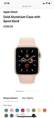 brand new rose gold 40 mm pink rubber strap series 5 apple watch