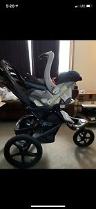 Jogger stroller with car seat+base with  plastic rain guard