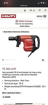 Hilti Te 800-avr Electric Demolition Hammer Chiseling Breaker 120v. New Open Box