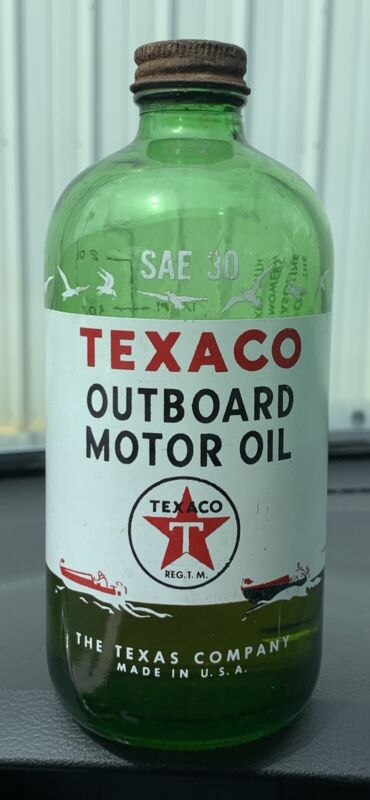 Vintage Texaco Green Glass Outboard Motor Oil Bottle Texas Company USA Nice