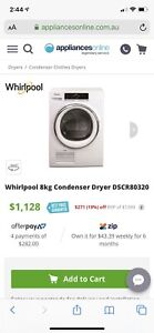 Whirlpool condenser 8kg dryer 1 year old!! No issues or faults