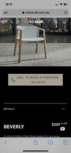 """Nick Scali """"Beverley"""" dining chairs x6. Brand new, never used."""