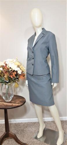 LE SUIT Grey/Black Print 2-Piece Business/Career Skirt Suit-Size 10