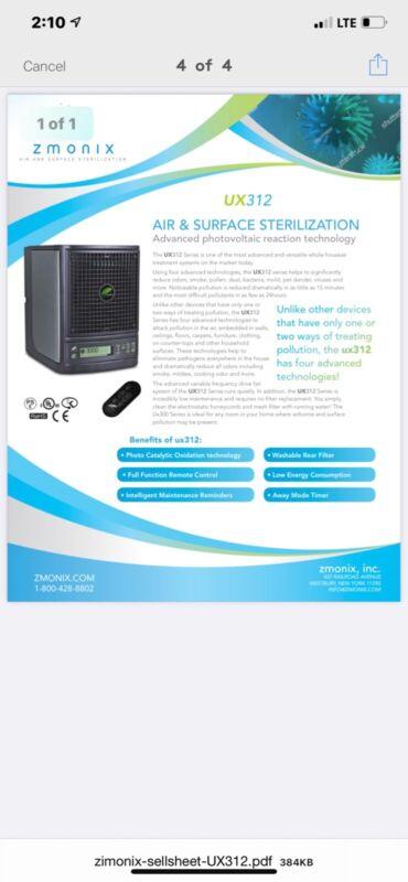 ZMONIX ux312 active pco device kills all viruses according to the cdc!