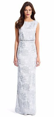 b74dff449c02 New ADRIANNA PAPELL Silver White Floral Sequin Blouson Keyhole Gown- Sz 16   NWT