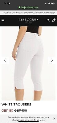 Ilse Jacobsen White Cropped Trousers Size 27 Waist BNWT Size 8/10
