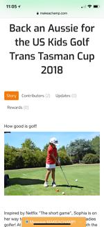 Sponsors to back Aussie at USkids golf Trans Tasman cup 2018