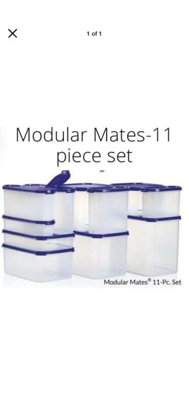 New! Tupperware Blue Or Black Seals Modular Mates 11 Piece Set ! Still In Box!