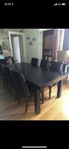 Large hardwood dining table