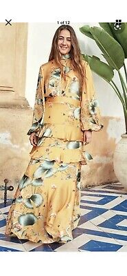 BNWT JOHANNA ORTIZ x HM Dark yellow patterned long dress with scarf collar UK 8