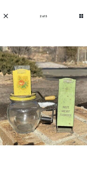 2 Vintage Primitive NUT MEAT SPICE Grinders Hand Cranks Lot B