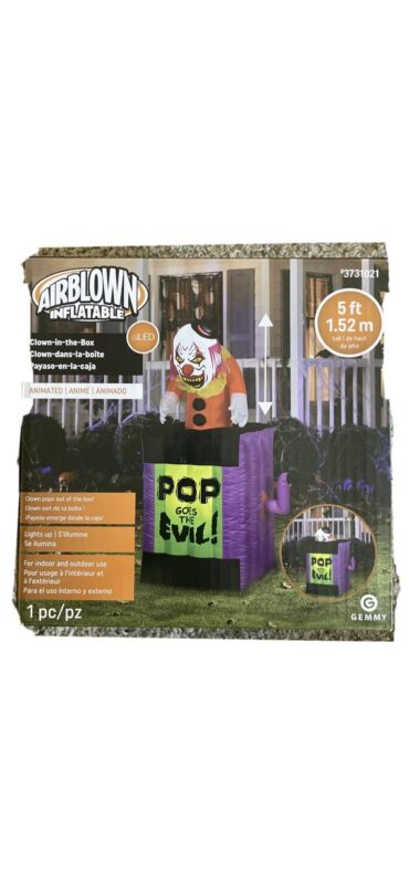 """Scary Clown Grandin Road """"Pop Goes the Evil"""" Halloween Inflatable Yard Animated"""