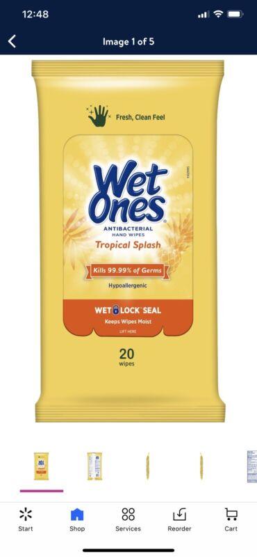 Wet Ones Tropical Splash 10 pack 200 wipe Factory sealed case