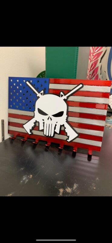 Flag United States Skull Crosses Guns Keychain Holder America Punisher