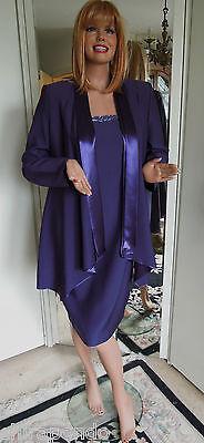 Abendkostüm Gr. 42 Gr. 44 lila Satin Perlen Kleid Starke Mode für Starke Frauen