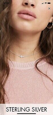 ASOS Kingsley Ryan sterling silver choker necklace with cross pendant BNWT
