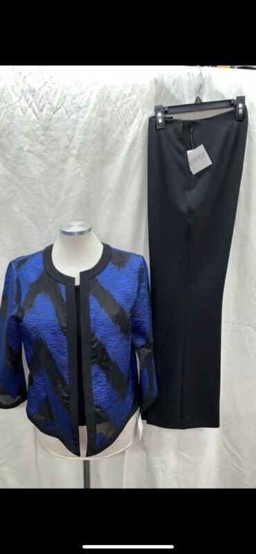 """KASPER PANT SUIT/SIZE 12/INSEAM32""""/RETAIL$240/NEW WITH TAG/BLUE/WHITE"""