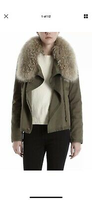 YVES SALOMON Army Fur (Coyote & Rabbit) Coat jacket Khaki size S FR 38 UK 10/12