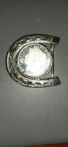 FAKE 1890 MORGAN SILVER DOLLAR BELT BUCKLE