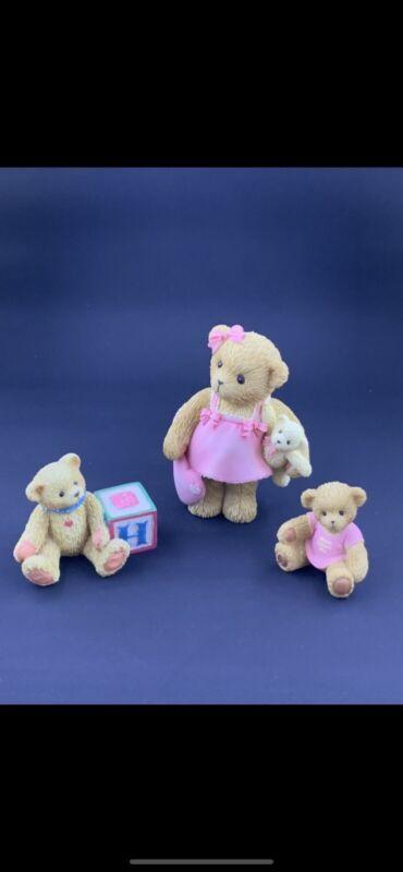 "Cherished Teddies 2004  ""I LOVE MOM"" & ""MOM LOVES ME"" Set & Bear With Block"