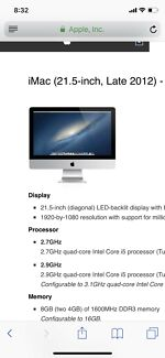 Wanted: iMac 21,5 inche late 2012 $1000