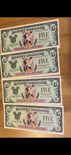 1995  One $5 Goofy  Disney Dollar A Series   New & Uncirculated