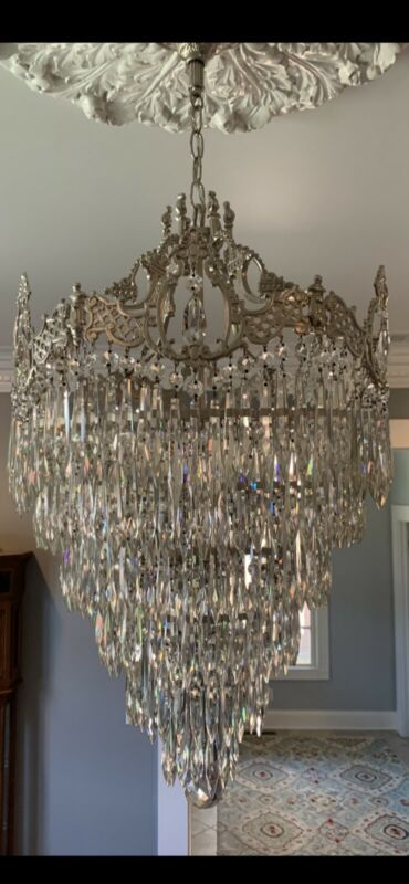 Stunning Antique Crystal Wedding Cake Chandelier