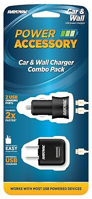Rayovac Car and Wall Charger Combo Pack - Includes 1 Wall Charger (PS69A) and...
