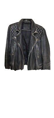 All Saints Leather Biker Jacket Bleeker Cargo Conroy Black Grey Size 12