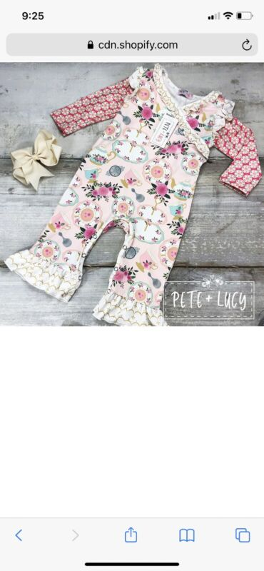 Pete + Lucy Tea For Two Romper Girls Size 18-24 Months